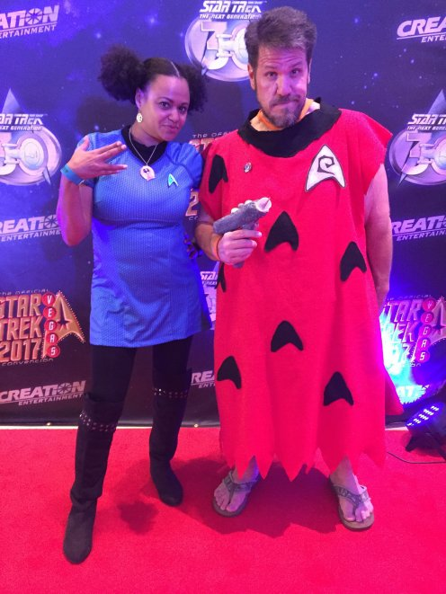 ^ Me, in my Flintstones mashup and a Starfleet cosplayer from London, who wanted my pic. I posed for a LOT of pictures on the 2 days (Thursday and Saturday) that I cosplayed.