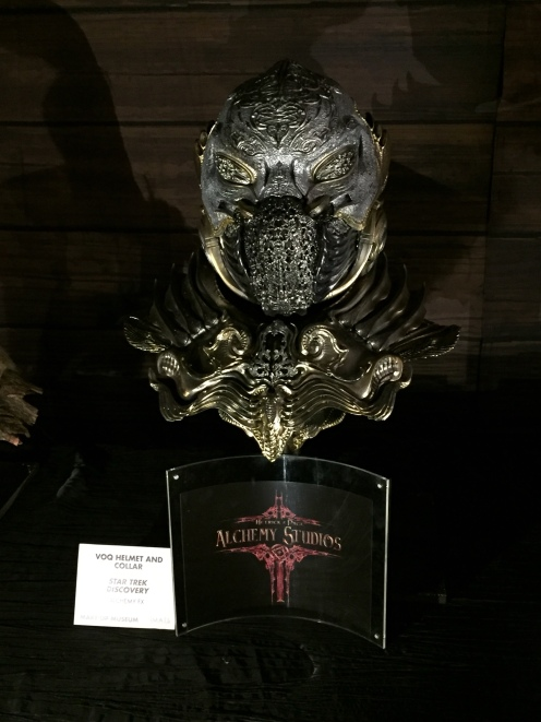 "An ornate Klingon Torchbearer helmet from ""Star Trek Discovery"""